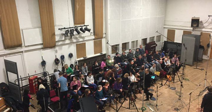 Session choir setting up at Abbey Road Studios